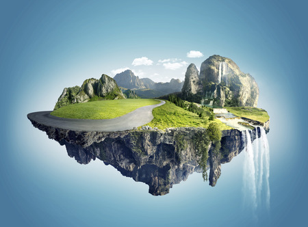 Magic island with floating islands, water fall and field Stock Photo