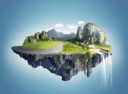 Magische Insel mit schwimmenden Inseln, Wasserfall und Feld