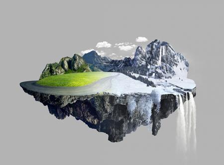 놀라운 떠있는 섬, 여름부터 겨울까지 스톡 콘텐츠