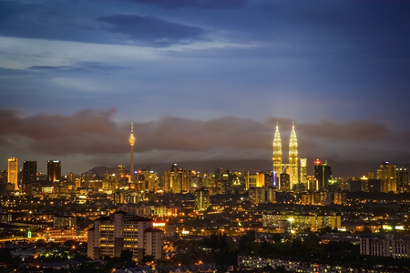 Kuala Lumpur city skyline , sunset to night scene