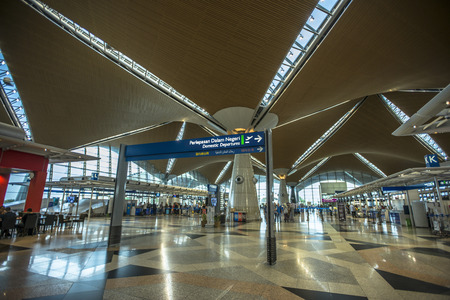 KUALA LUMPUR - 2016 APRIL 23: airport interior in Kuala Lumpur, Malaysia. Kuala Lumpur International Airport (KLIA) is Malaysia's main international airport and one of the major airports of South East Asia Redakční