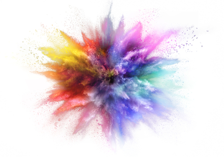 Freeze motion of colored dust explosion isolated on white background Foto de archivo