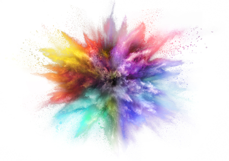 Freeze motion of colored dust explosion isolated on white background 스톡 콘텐츠