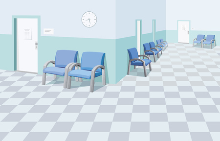 Empty waiting room in the hospital. Private medical practice. Modern Interior at the doctor. The best medical health care. Simple flat vector illustration.