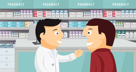 The patient consults with the pharmacist. Modern interior pharmacy and drugstore. Sale of vitamins and medications. Funny cartoon flat vector simple illustration. Иллюстрация