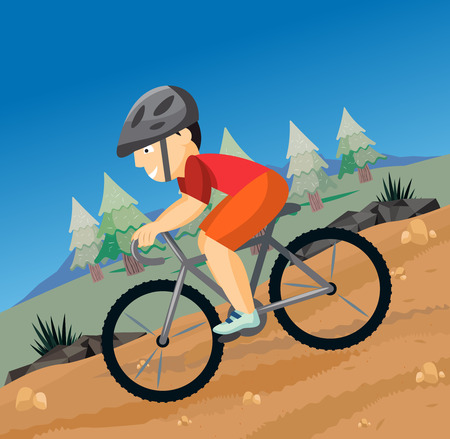 Cyclist on a mountain bike in nature. Summer sports. Cartoon vector illustration. Illustration