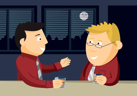Two men drinking whiskey at the bar. Informal business meeting. Cartoon vector illustration.