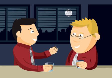 Two men drinking whiskey at the bar. Informal business meeting. Cartoon vector illustration. Illustration