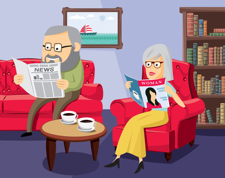 Husbands and their family life. Happy seniors on the sofa in the living room. Simple cartoon vector illustration.
