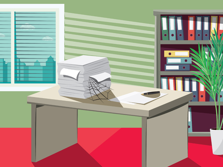Empty office with documents, work desks and filing cabinets. Businessman is on vacation. Cartoon vector illustration.
