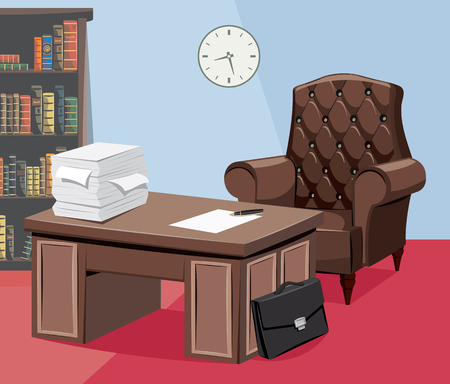Modern interior law firm. Empty office with documents, work desks and a leather armchair. Director's office. Businessman is on vacation. Looking for a new employee. Vector illustration.