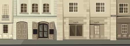 Small panorama street in the historic town. Retro theme. Cartoon vector illustration