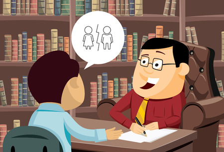 Man wants to divorce. Funny experienced attorney solves problem. Modern interior law firms. Simple cartoon vector illustration.