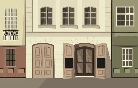 Small panorama street in the historic town. Retro theme cartoon vector illustration. Illustration