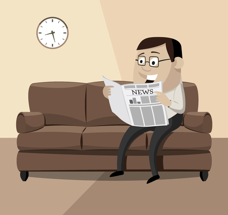 Happy businessman reading a newspaper on the couch. Cartoon vector illustration in retro theme. Çizim