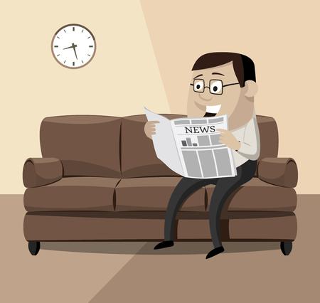 Heureux homme d'affaires, lisant un journal sur le canapé. Illustration de vecteur de dessin animé dans le thème rétro. Banque d'images - 94937494