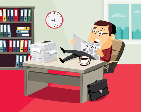 Happy businessman reading a newspaper in the office. Cartoon vector illustration.