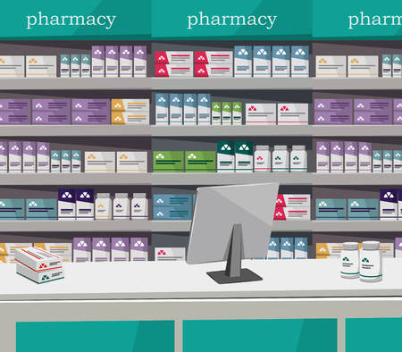Modern interior pharmacy and drugstore. Sale of vitamins and medications vector illustration.