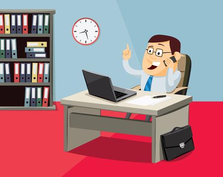 Businessman on the phone in office, cartoon vector illustration.