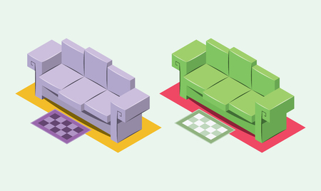 Nice isometric simple couch, cartoon vector illustration.