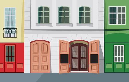 Tiny street in the historic town cartoon vector illustration. Vettoriali