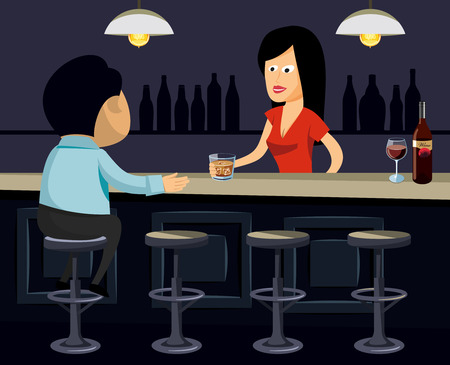 Man in a bar orders a whiskey. Lonely man acquainted with the bar simple vector illustration.