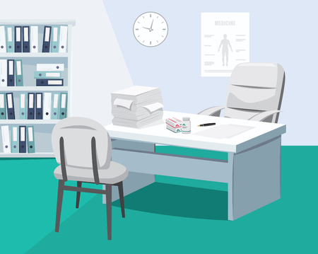 Modern interior surgery private medical practice. The best medical care doctor is on vacation vector cartoon illustration.