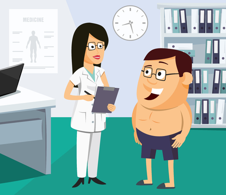 Doctor investigates man in office. Medical specialist for the patient funny vector illustration. Vectores