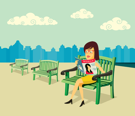 Woman sitting on a bench and reading a magazine on the square. Simple cartoon vector illustration.