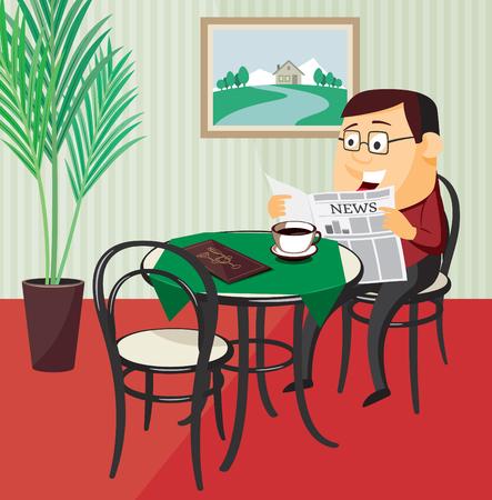 Happy man reading a newspaper in a restaurant. Vector cartoon illustration.