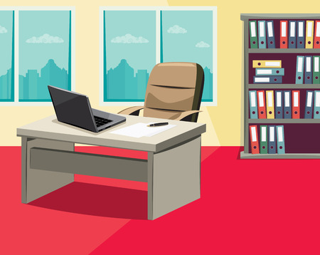 Still life of empty office Cartoon vector illustration. Vettoriali