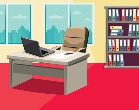 Still life of empty office Cartoon vector illustration.