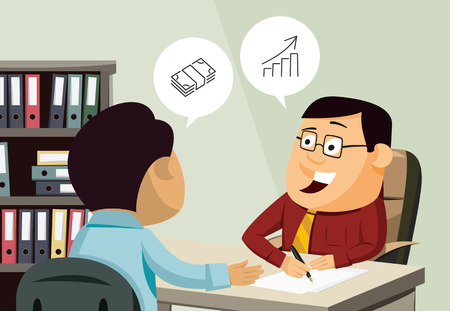 Happy businessman signing a contract of insurance. Man invests in real estate. Customer service. Financial advice. Cartoon vector illustration.