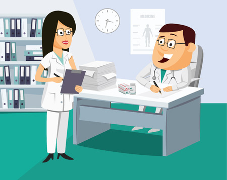 The nurse has a meeting with the doctor Funny vector cartoon illustration.