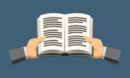 Flat reading a dictionary icon Cartoon vector illustration.