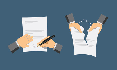 Two hand icons Signing contract and contract termination Cartoon flat vector illustration.