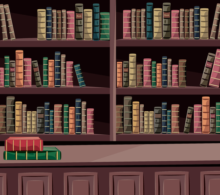 Interior historical library with old books. Encyclopedia. Cartoon vector illustration.