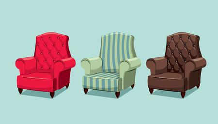 Set of  leather armchair cartoon illustration.