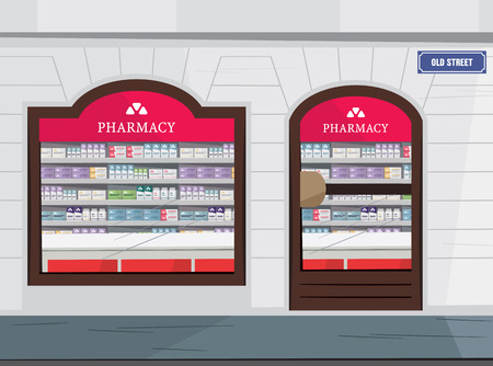 Modern interior and pharmacy and drugstore. Sale of vitamins and medications. Vector cartoon illustration.