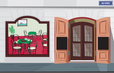 Exterior and interior traditional cafe in france. Romantic restaurant in the historic town. Vector simple cartoon illustration.