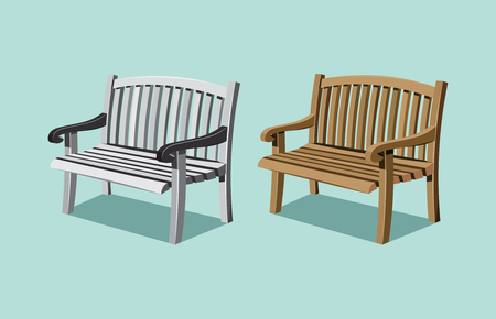 Collection types seating. Wooden bench. Simple cartoon isolated vector illustration.