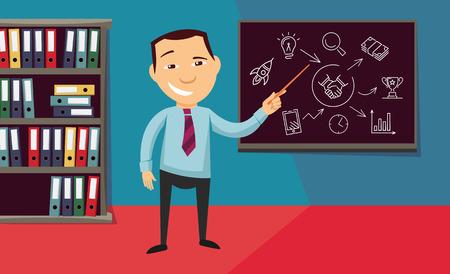 Man cartoon illustration pointing to a blackboard. Vettoriali