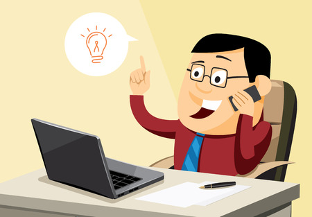 Creative businessman having an idea in office. Cartoon simple vector illustration. Vettoriali