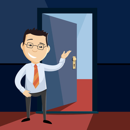 Open door with a man standing