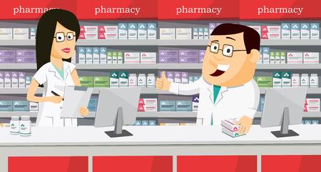 Pharmacists in pharmacy vector illustration. Vettoriali