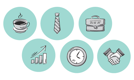 Collection of hand drawn business icons. Simple vector illustration.