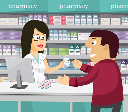 Pharmacist chemist woman in pharmacy.