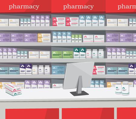 Modern interior pharmacy and drugstore design