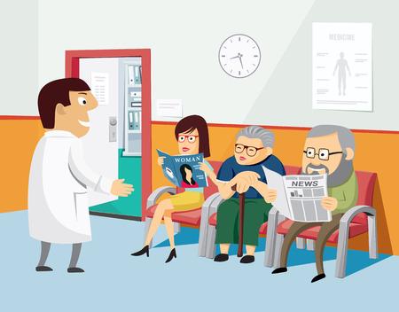 Die beste medizinische Versorgung. Modernes Interieur eines privaten Gesundheitszentrums. Impfung. Wartezimmer beim Arzt mit dem Patienten. Einfache Karikaturvektorillustration.
