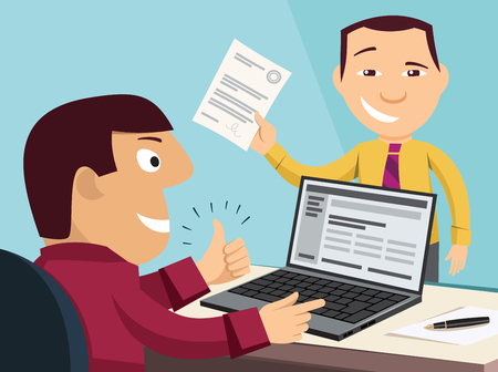 Loan application. Customer Care Center. Approval documents. Processing the application in the office. Funny experienced banker solves the problem. Simple flat design vector cartoon illustration Foto de archivo - 100941306